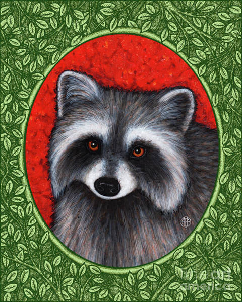 Painting - Raccoon Portrait - Green Border by Amy E Fraser