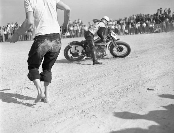 Motorcycle Racing Photograph - Racing At The Daytona 200 by Joseph Scherschel
