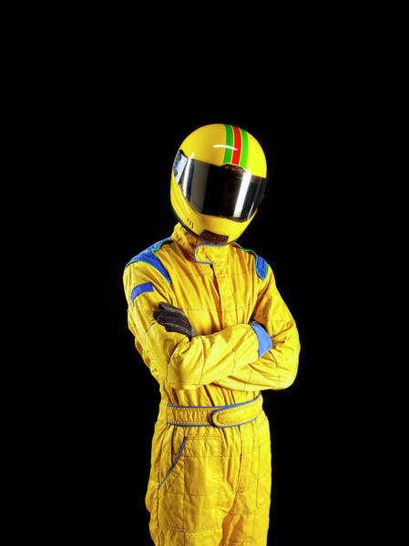 Sport Photograph - Racing Driver Standing Proud On Black by Tom And Steve