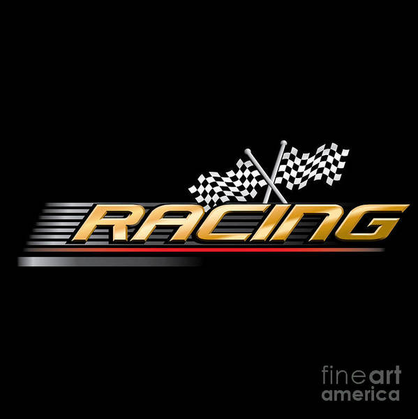 Event Wall Art - Digital Art - Racing With Checkered Flags by Vectorvault