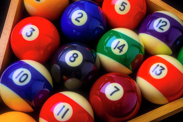 Wall Art - Photograph - Racked Colorful Billiard Pool Balls by Garry Gay