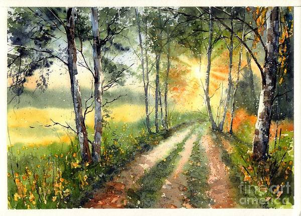 Columbus Wall Art - Painting - Radiant Sun On The Autumn Sky by Suzann's Art