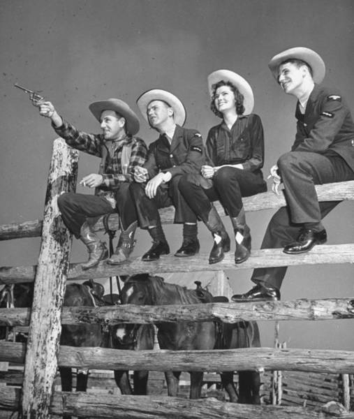 Ranch Photograph - Raf Pilots Relaxing On A Dude Ranch.  P by William C. Shrout