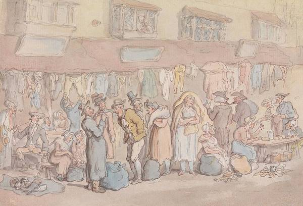 Drawing - Rag Fair Or Rosemary Lane by Thomas Rowlandson