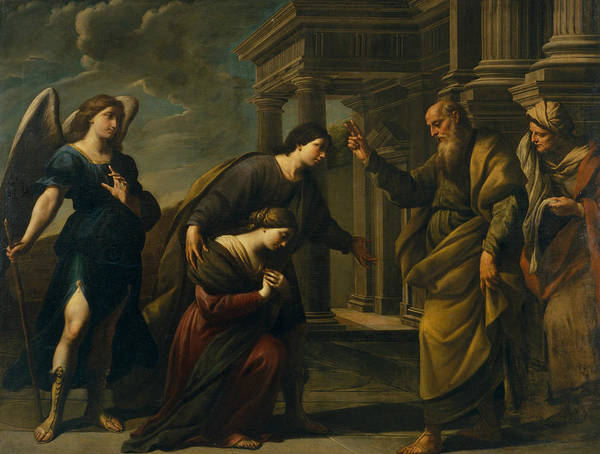 Painting - Raguel's Blessing Of Her Daughter Sarah by Andrea Vaccaro