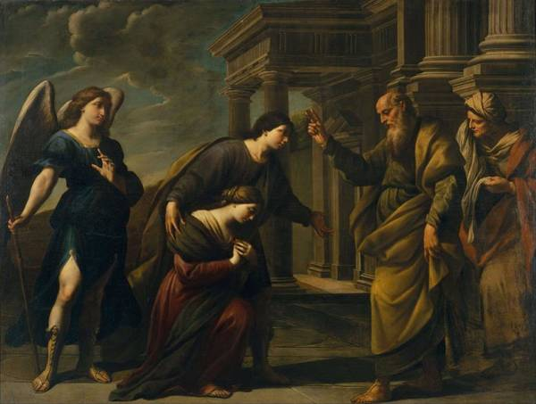 Wall Art - Painting - Raguels Blessing Of Her Daughter Sarah Before Leaving Ecbatana With Tobias  by Andrea Vaccaro