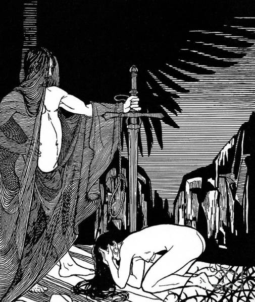 Wall Art - Drawing - Rahab, The Harlot Of Jericho In Front Of Joshua by Ephraim Moses Lilien