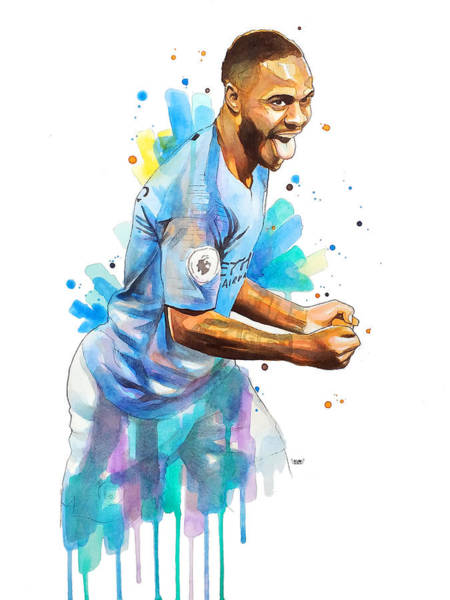 Premier League Wall Art - Painting - Raheem Sterling, Manchester City by Wachira Kacharat