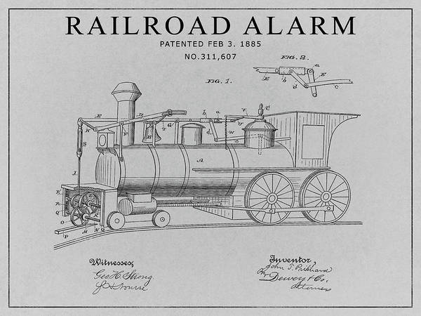 Wall Art - Drawing - Railroad Alarm Patent by Dan Sproul