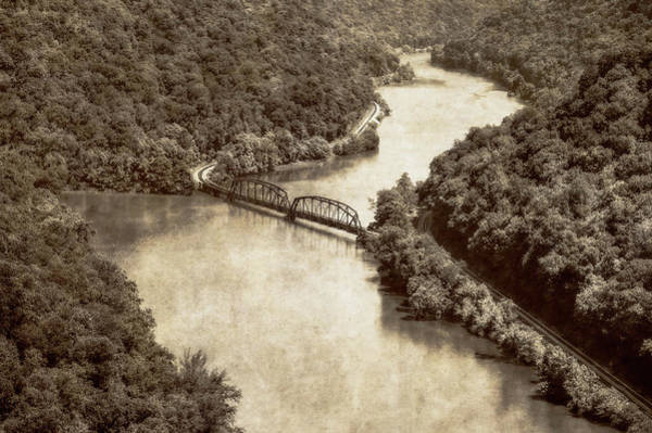Wall Art - Photograph - Railroad Bridge At Hawks Nest  -  Railroadbridgehawksnestblkwhi197336 by Frank J Benz