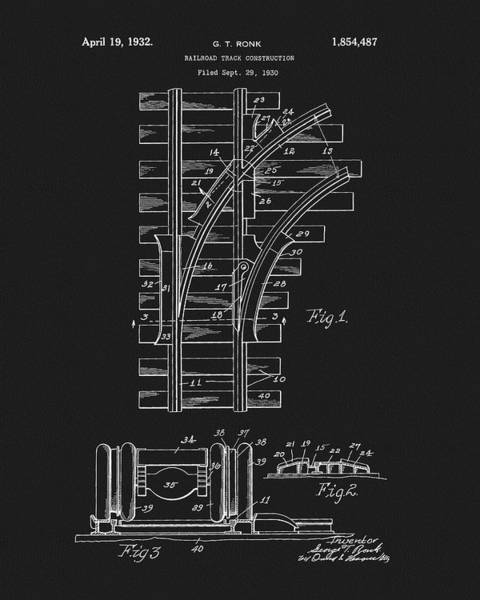 Drawing - Railroad Tracks Design Patent by Dan Sproul