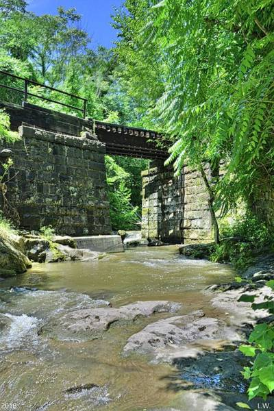 Photograph - Railroad Trestle At Buttermilk/homewood Falls Beaver Falls Pennsylvania Vertical by Lisa Wooten