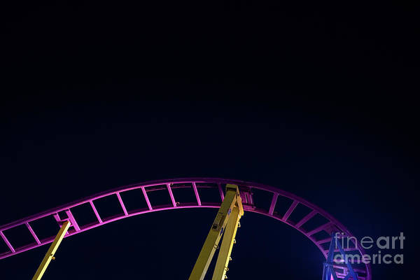 Photograph - Rails Of A Roller Coaster, Blue Night Sky Background. by Joaquin Corbalan