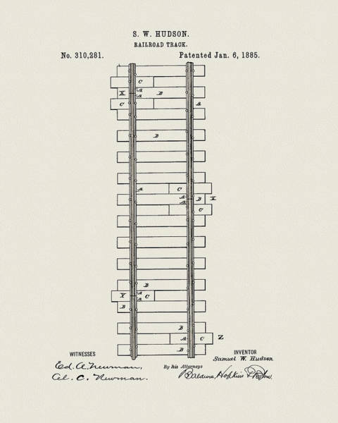Railroad Station Drawing - Railway Track Patent by Dan Sproul