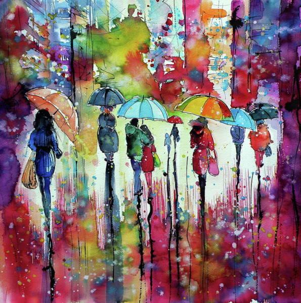 Wall Art - Painting - Rain, Colours, People II by Kovacs Anna Brigitta
