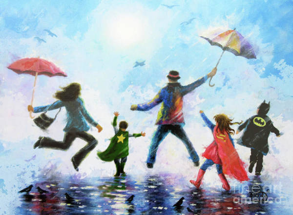 Wall Art - Painting - Rain Family Super Hero Girl And Boys			 by Vickie Wade