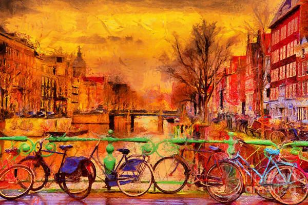 Famous People Digital Art - Rain Over Amsterdam Canal Impressionist by Ivan Aleshin