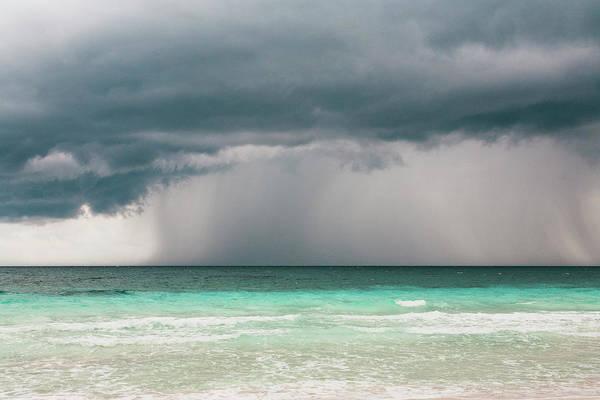 Quintana Roo Photograph - Rain Storm Over The Ocean And Beach by Sasha Weleber