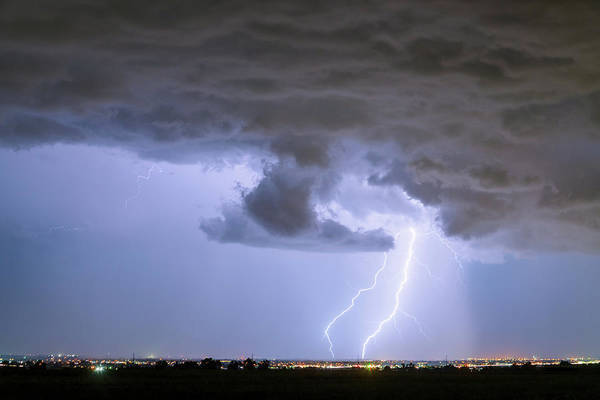 Photograph - Rain Wall And Double Lightning Striking by James BO Insogna