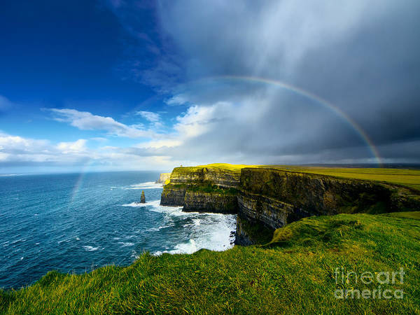 Wall Art - Photograph - Rainbow Above Cliffs Of Moher. Ireland by Liseykina
