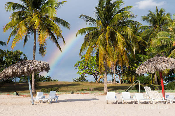 Hdr Wall Art - Photograph - Rainbow Between Palm Trees On Playa by Crystal Egan