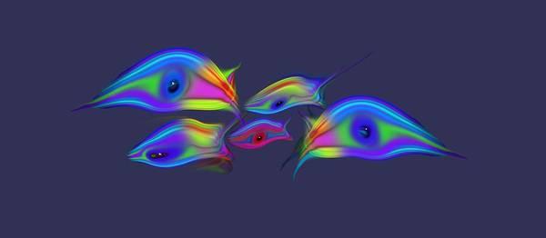 Wall Art - Digital Art - Rainbow Blue Fish by Charles Stuart