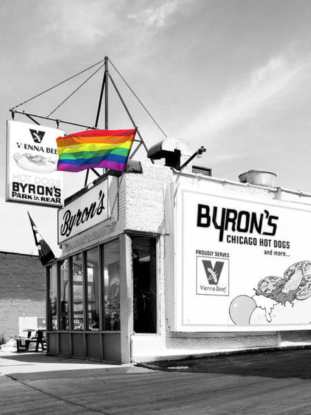 Gay Pride Flag Photograph - Rainbow Dog Byrons Hot Dogs by William Dey