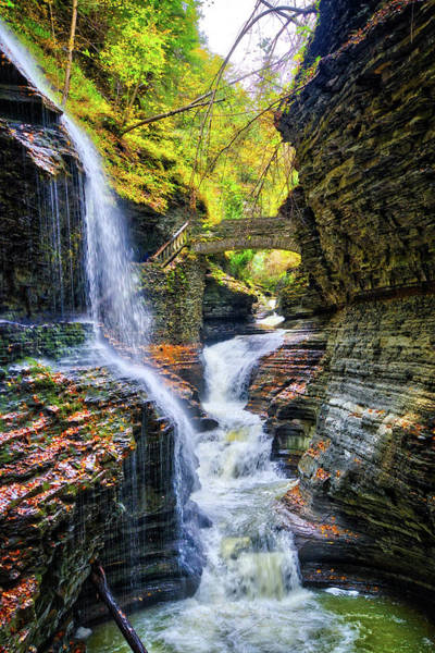 Photograph - Rainbow Falls And Bridge At Watkins Glen State Park - Finger Lakes, New York by Lynn Bauer