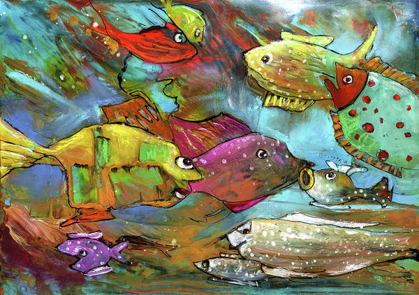 Wall Art - Painting - Rainbow Fishes 02 by Miki De Goodaboom