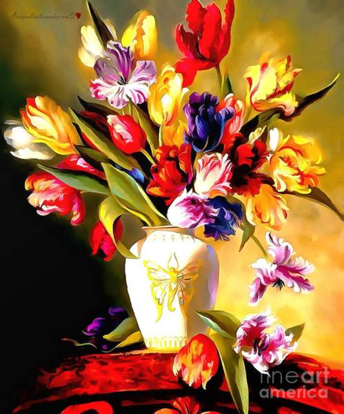 Painting - Rainbow Floral Array Soft And Wet Paint by Catherine Lott