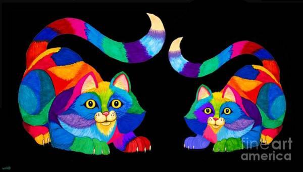 Wall Art - Digital Art - Rainbow Frisky Cats by Nick Gustafson