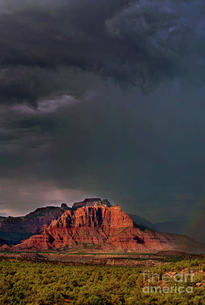 Photograph - Rainbow In A Summer Storm Back Of Zion Utah by Dave Welling