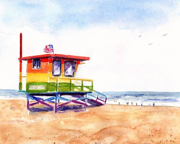 Guard Tower Wall Art - Painting - Rainbow Lifeguard Tower by Carlin Blahnik CarlinArtWatercolor