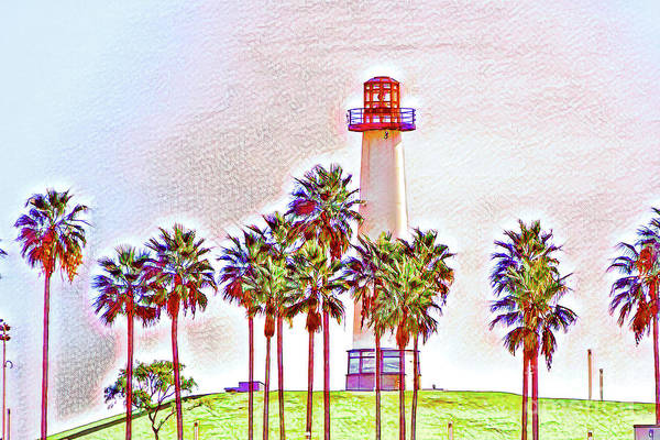 Digital Art - Rainbow Lighthouse Green/white Theme by Joe Lach