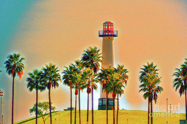 Digital Art - Rainbow Lighthouse Green/yellow Theme by Joe Lach