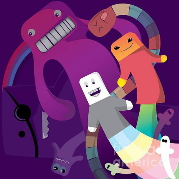 Dancing Wall Art - Digital Art - Rainbow Monsters by Margaritas