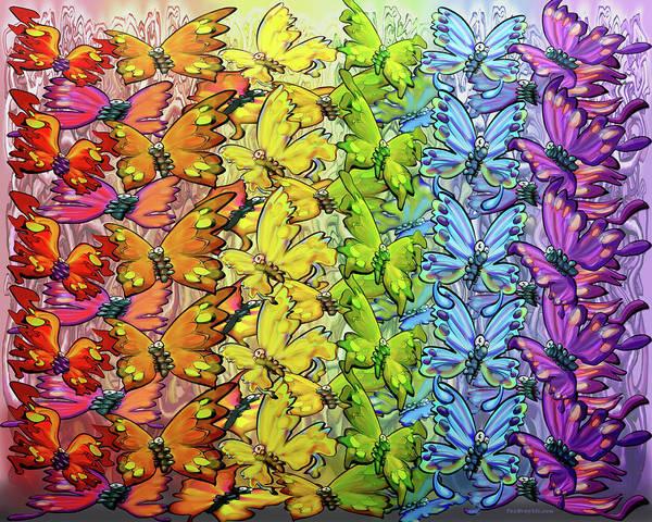 Digital Art - Rainbow Of Butterflies by Kevin Middleton
