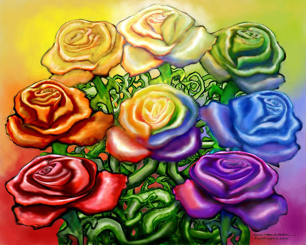 Digital Art - Rainbow Of Roses by Kevin Middleton