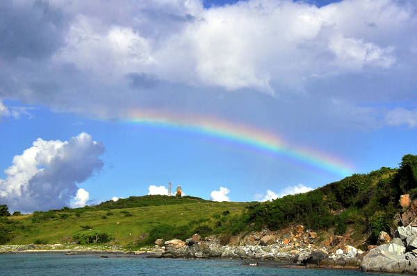 Photograph - Rainbow Over Buck Island Lighthouse by Climate Change VI - Sales
