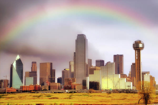 Photograph - Rainbow Over Downtown Dallas - Dallas Skyline - Texas by Jason Politte