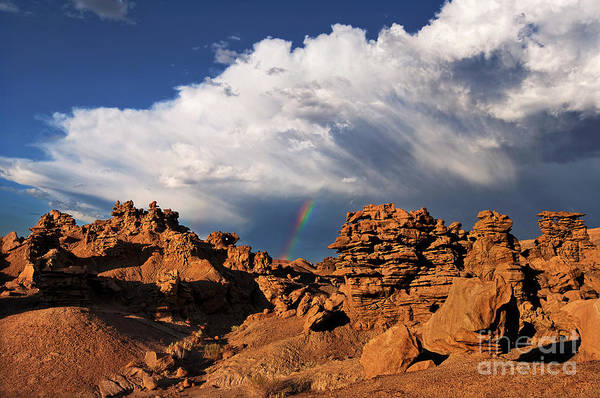 Photograph - Rainbow Over Sandstone Formations Fantasy Canyon Utah by Dave Welling