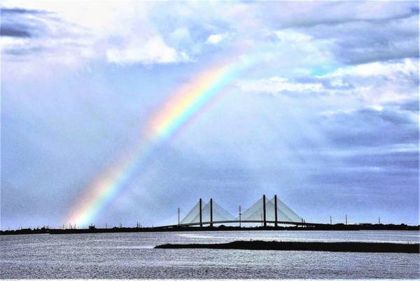 Photograph - Rainbow Over The Indian River Inlet Bridge by Kim Bemis