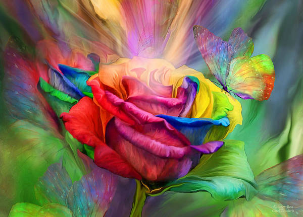 Mixed Media - Rainbow Rose by Carol Cavalaris