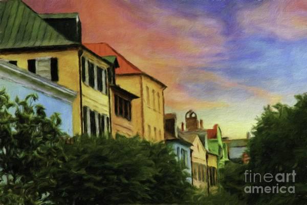 Southern Charm Digital Art - Rainbow Row Charleston  by James Poston