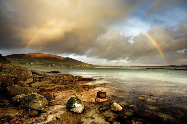 Connemara Photograph - Rainbow Stretching Over Still Rural Lake by George Karbus Photography