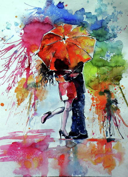 Wall Art - Painting - Raining And Love by Kovacs Anna Brigitta
