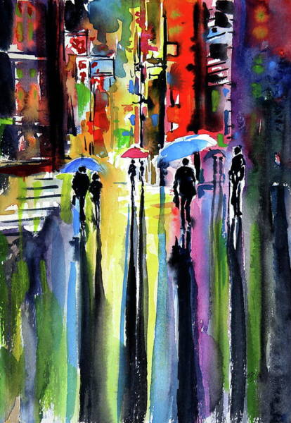 Wall Art - Painting - Raining At Night by Kovacs Anna Brigitta