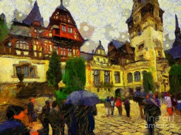 Pele Digital Art - Rainy Day At Peles Castle, Transylvania by Bruce Whittingham