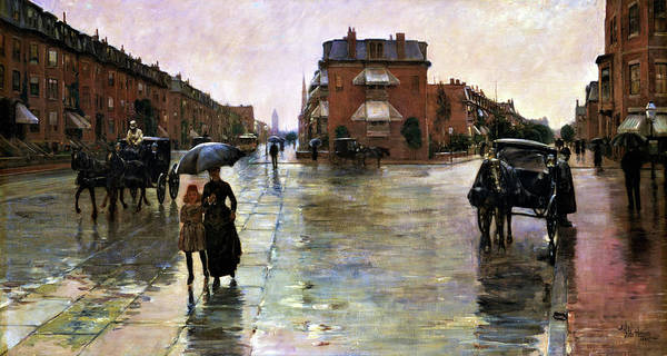 Avenue Painting - Rainy Day, Boston - Digital Remastered Edition by Frederick Childe Hassam