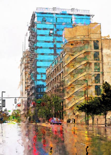 Wall Art - Painting - Rainy Day Downtown by Dan Carmichael